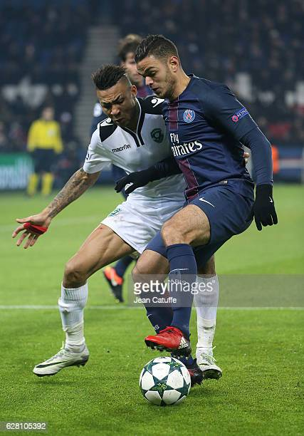 Hatem Ben Arfa of PSG and Anicet Abel of Ludogorets in action during the UEFA Champions League match between Paris SaintGermain and PFC Ludogorets...