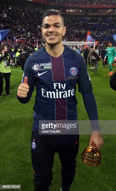 Hatem Ben Arfa of PSG celebrates the victory following the French League Cup final between Paris SaintGermain and AS Monaco at Parc OL on April 1...