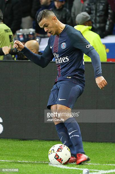 Hatem Ben Arfa of PSG in action during the French Ligue 1 match between Olympique Lyonnais and Paris SaintGermain at Parc OL stadium on November 27...