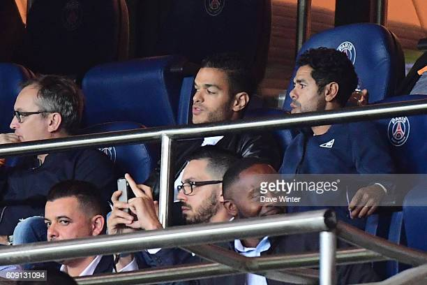 Hatem Ben Arfa of PSG in the stands next to French comedian Jamel Debbouze dduring the French Ligue 1 game between Paris SaintGermain and Dijon FCO...