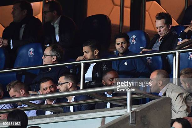 Hatem Ben Arfa of PSG in the stands next to French comedian Jamel Debbouze during the French Ligue 1 game between Paris SaintGermain and Dijon FCO at...