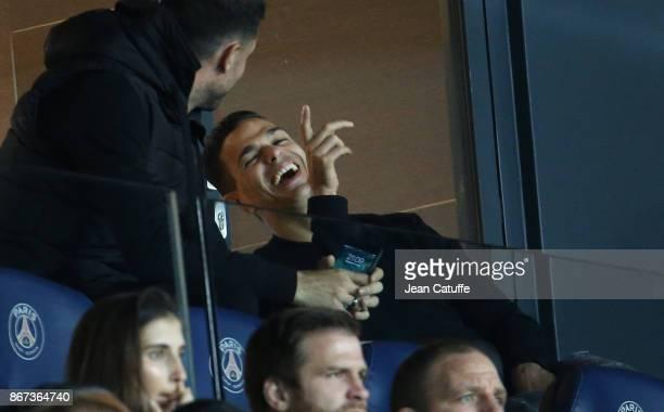 Hatem Ben Arfa of PSG talks to Thiago Motta during the French Ligue 1 match between Paris SaintGermain and OGC Nice at Parc des Princes stadium on...