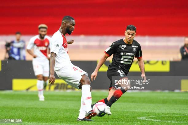 Hatem Ben Arfa of Rennes and Jean Eudes Aholou of Monaco during the Ligue 1 match between Monaco and Rennes at Stade Louis II on October 7 2018 in...