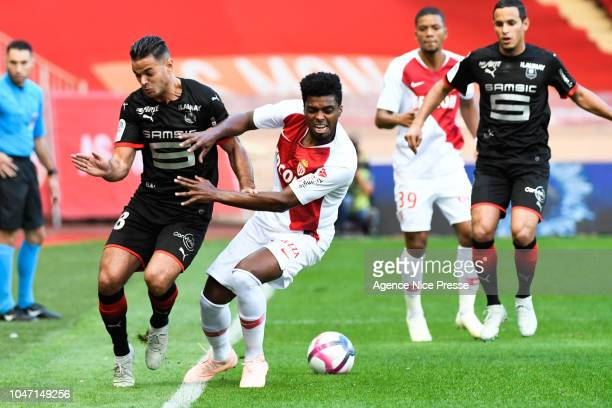Hatem Ben Arfa of Rennes and jemerson of Monaco during the Ligue 1 match between Monaco and Rennes at Stade Louis II on October 7 2018 in Monaco...