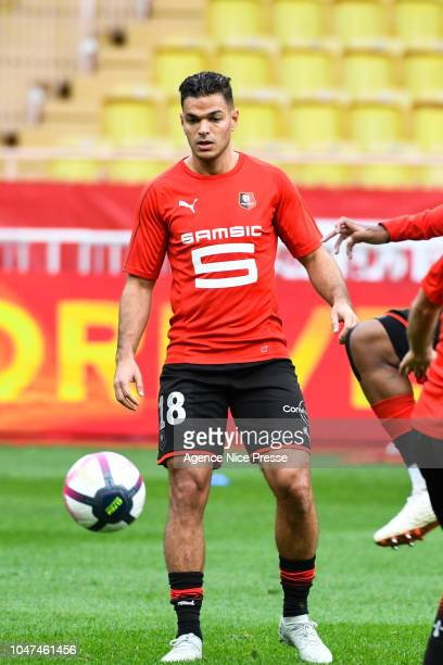 Hatem Ben Arfa of Rennes warm up before the Ligue 1 match between Monaco and Rennes at Stade Louis II on October 7 2018 in Monaco Monaco