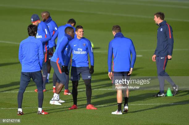 Hatem Ben Arfa reacts during training session of Paris Saint Germain PSG at Camp des Loges on January 26 2018 in Paris France