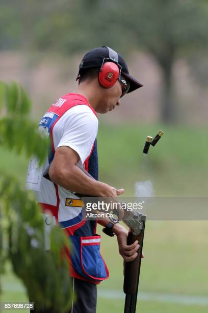 Hathaich of Thailand in action during the shooting skeet finals which was part of the 2017 SEA Games on August 23 2017 in Kuala Lumpur Malaysia