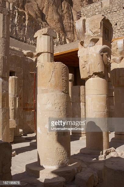 Hathor column pillars belonging to the Chapel of Hathor Temple of Hatshepsut Temple of Deir elBahari Eighteenth Dynasty New Kingdom
