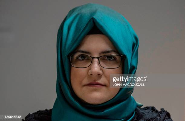 Hatice Cengiz, fiancee of slain Saudi dissident journalist Jamal Khashoggi, addresses journalists during a talk at the headquarters of the German...