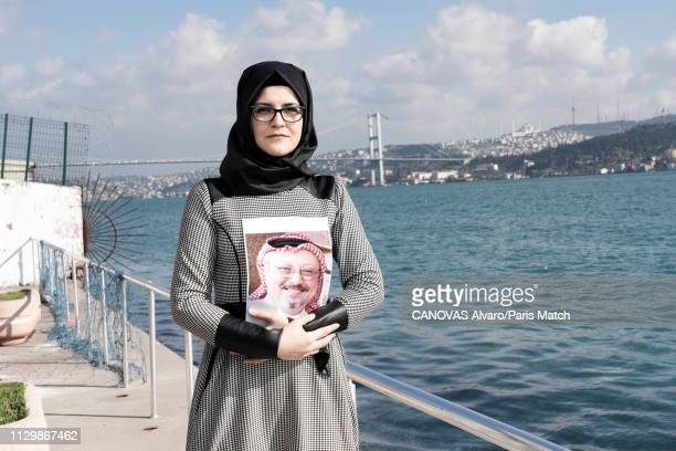 Hatice Cengiz the fiancée of Jamal Khashoggi who was murdered at the Saudi embassy in Istanbul is photographed for Paris Match on February 10 2019 in...