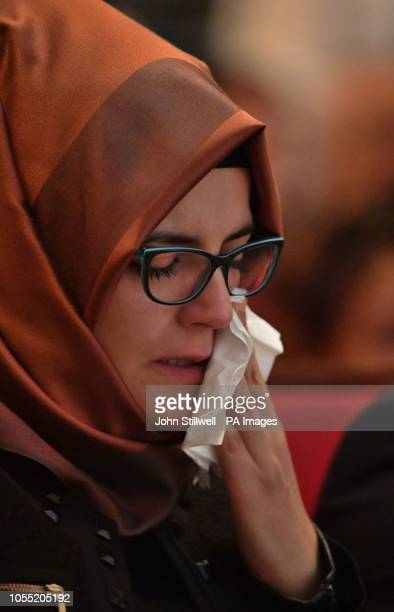 Hatice Cengiz the fiancee of the killed journalist Jamal Khashoggi wipes her eye during a memorial event for her fiance at the Mechanical Engineers...