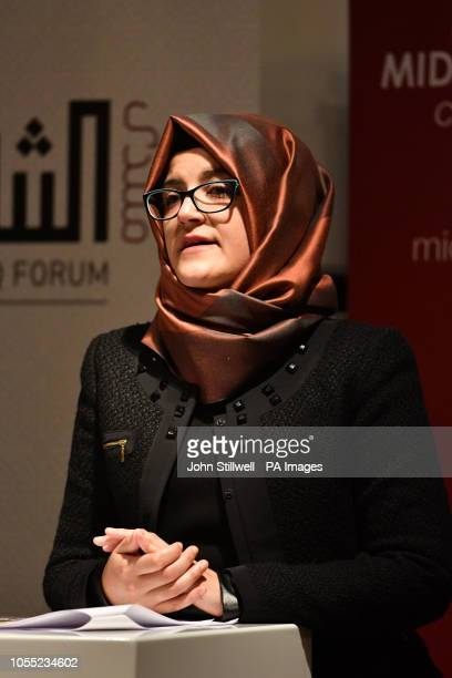 Hatice Cengiz the fiancee of the murdered journalist Jamal Khashoggi speaks during a memorial event for her fiance at the Mechanical Engineers...