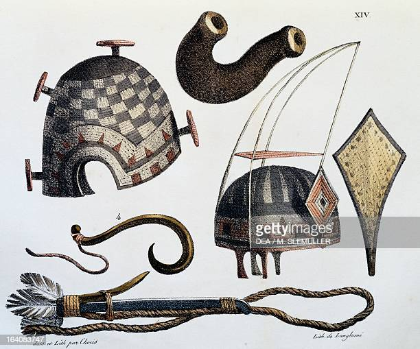 Hats and tools of the Sandwich Islands, now Hawaii, illustration from Picturesque voyages around the world, by Louis Choris from the expedition of...