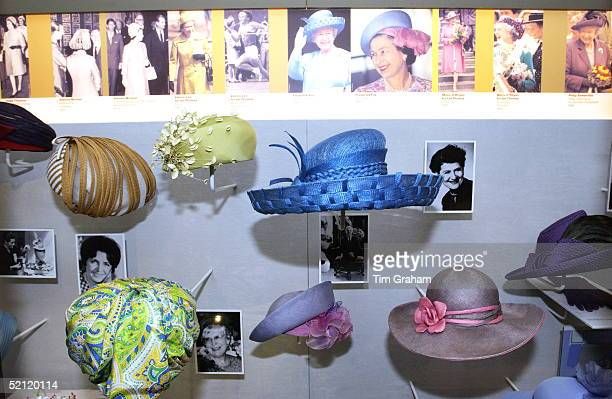 """Hats Belonging To Queen Elizabeth II On Display At The Exhibition """"hats And Handbags - Accessories From The Royal Wardrobe"""" At Kensington Palace..."""
