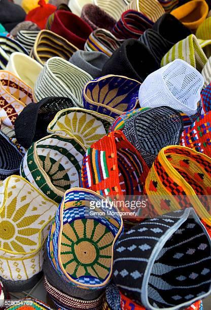Hats for sale in market in Marrakesh