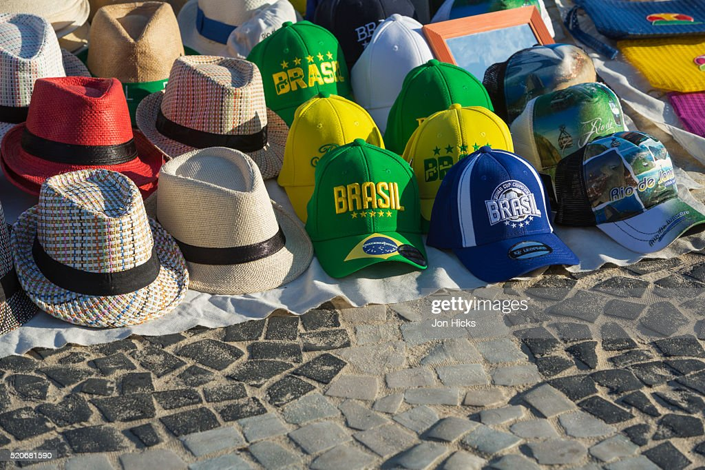 Hats For Sale On Ipanema Beach Rio De Janeiro Stock Photo  67897997456