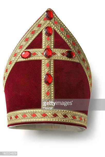 hats: miter of sinterklaas - mitre stock photos and pictures