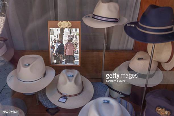 Hats of all sizes and varieties on display in the window of Chapelaria Azevedo Rua, on 13th July 2016, in Lisbon, Portugal. Manuel Aquino Azevedo Rua...