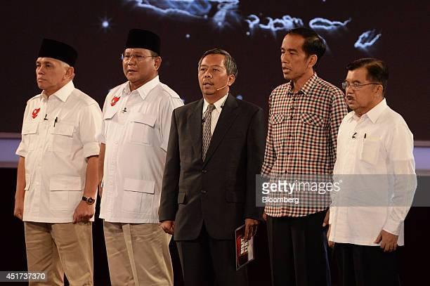 Hatta Rajasa, vice presidential candidate, from left, Prabowo Subianto, presidential candidate, Sudharto P. Hadi, debate moderator, Joko Widodo,...