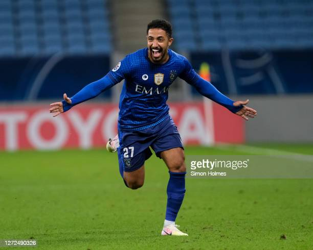 Hattan Bahebri of Al Hilal celebrates his stoppage time winner during the AFC Champions League match between Al Hilal SFC and Pakhtakor at Al Janoub...