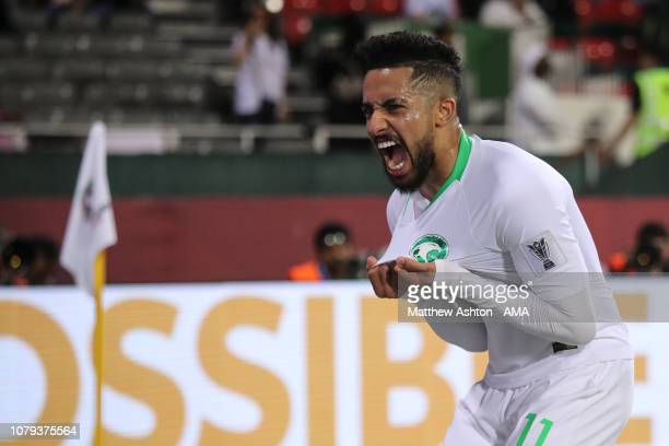 Hattan Bahebri of Saudi Arabia celebrates after scoring a goal to make it 1-0 during the AFC Asian Cup Group E match between Saudi Arabia and North...