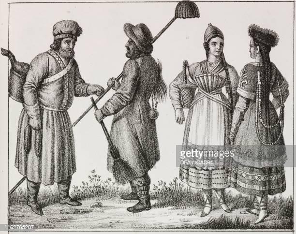 Hatter chimney sweeper and women Russia lithograph from Galleria universale di tutti i popoli del mondo ossia storia dei costumi religioni riti...