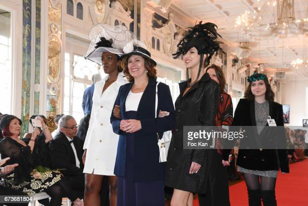 Hatter Marie Mirabelle Desnos and her models walk the runway during Fashion Night Couture 2017 Show at Salon des Miroirs on April 26 2017 in Paris...