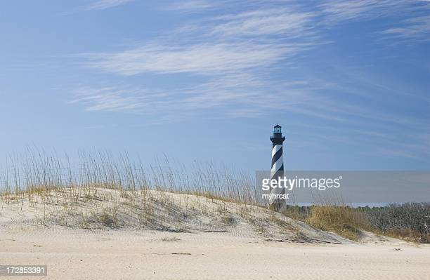 hatteras lighthouse and the dunes - cape hatteras stock pictures, royalty-free photos & images