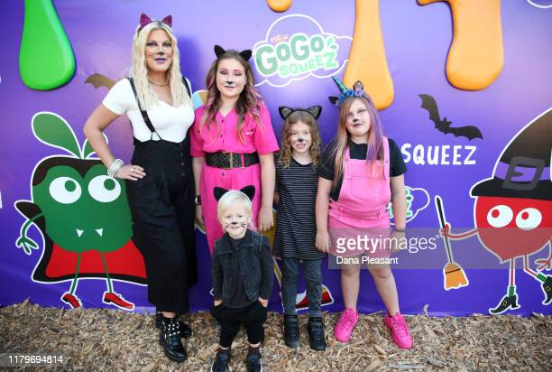 Hattie Margaret McDermott, Tori Spelling, Beau Dean McDermott, Stella Doreen McDermott and Finn Davey McDermott attend the GoGo squeeZ GoGoWeen...