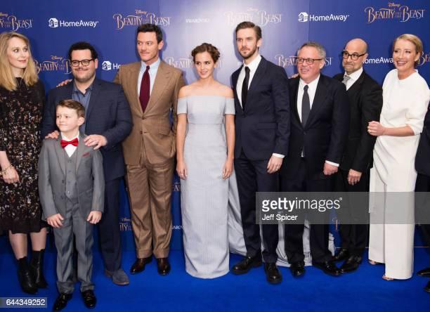 Hattie Morahan Nathan Mack Josh Gad Luke Evans Emma Watson Dan Stevens Bill Condon Stanley Tucci and Emma Thompson attend the UK Premiere of 'Beauty...