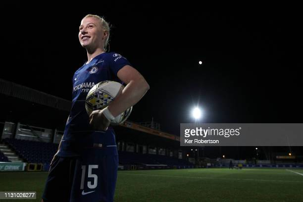 Hattrick goalscorer Bethany England of Chelsea celebrates with the match ball following the FA Women's Super League match between Chelsea Women and...