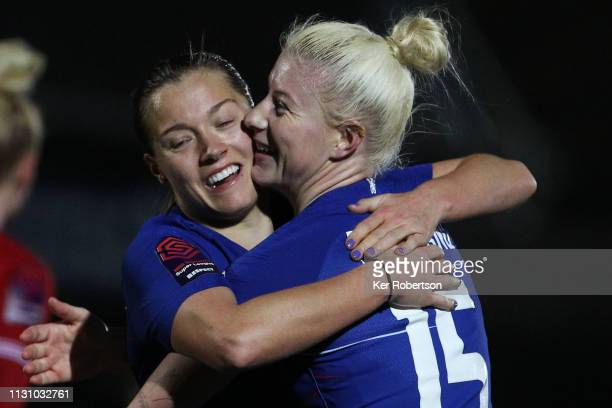 Hattrick goalscorers Fran Kirby and Bethany England of Chelsea celebrate during the FA Women's Super League match between Chelsea Women and Bristol...