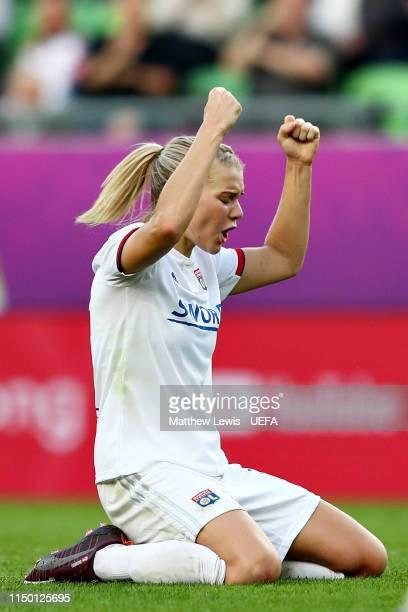 Hattrick hero Ada Hegerberg of Olympique Lyonnais Women celebrates after winning the UEFA Women's Champions League Final between Olympique Lyonnais...
