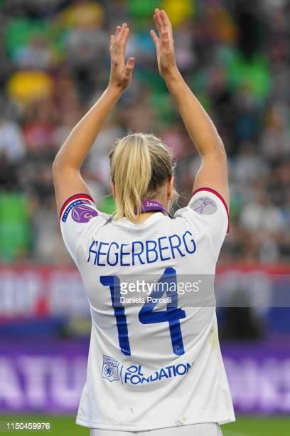 Hattrick scorer Ada Hegerberg after the UEFA Women's Champions League Final between Olympique Lyonnais and FC Barcelona Women at Groupama Arena on...