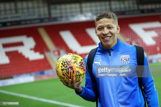 Hattrick scorer Dwight Gayle of West Bromwich Albion with the signed match ball at the end of the match during the Sky Bet Championship match between...