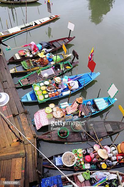 hatyai floating market - floating market stock photos and pictures