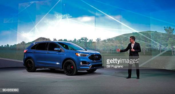 Hau Thai Tang Ford executive vice president of product development and purchasing introduces the 2019 Ford Edge ST at its debut at the 2018 North...