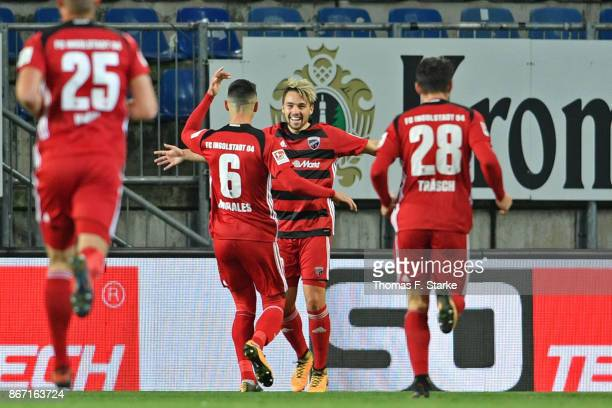 Hauke Wahl Alfredo Morales Thomas Pledl and Christian Traesch of Ingolstadt celebrate during the Second Bundesliga match between DSC Arminia...