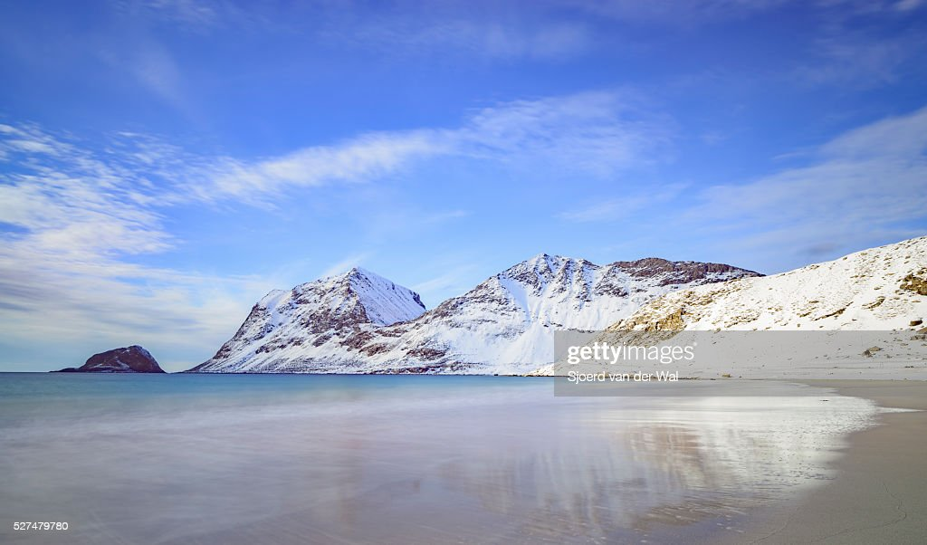 Haukland beach in the Lofoten archipel in Norway in winter : Stock Photo