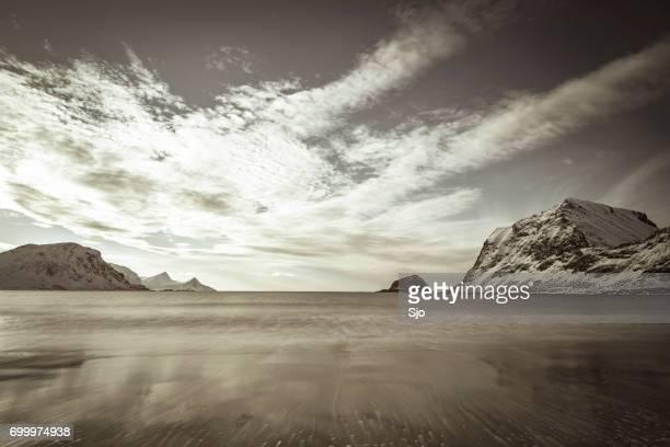 Haukland beach in the Lofoten archipel in Norway in winter