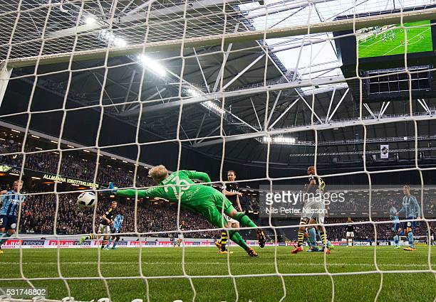 Haukur Hauksson of AIK scores the decisive goal to 20 during the Allsvenskan match between AIK and Djurgardens IF at Friends arena on May 16 2016 in...