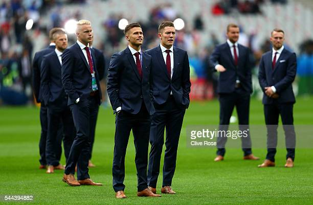 Haukur Heidar Hauksson and Arnor Ingvi Traustason and Iceland players inspect the pitch prior to the UEFA EURO 2016 quarter final match between...