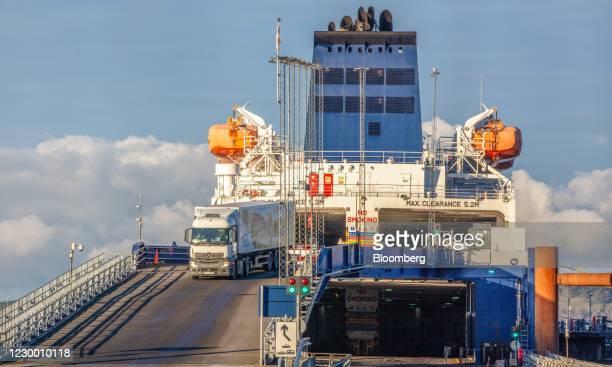 Haulage truck disembarking from a ferry at Cairnryan Port in Cairnryan, Scotland, U.K., on Monday, Dec. 7, 2020. U.K. Prime Minister Boris Johnson...