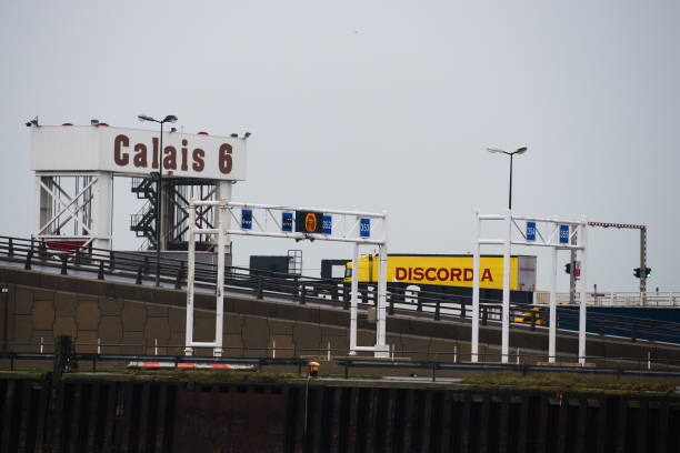 FRA: Truck Queues And Haulage Traffic Around Calais Port