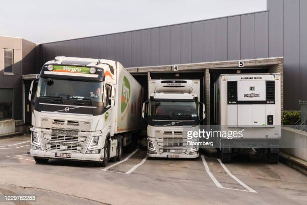 Haulage trucks bound for the U.K. In loading bays at the Vergro NV food distribution warehouse in Meulebeke, Belgium, on Wednesday, Nov. 25, 2020....
