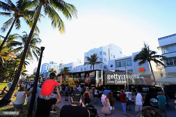 Haulers parade down Ocean Drive during the NASCAR Championshp Drive at Lummus Park on November 15 2012 in Miami Beach Florida