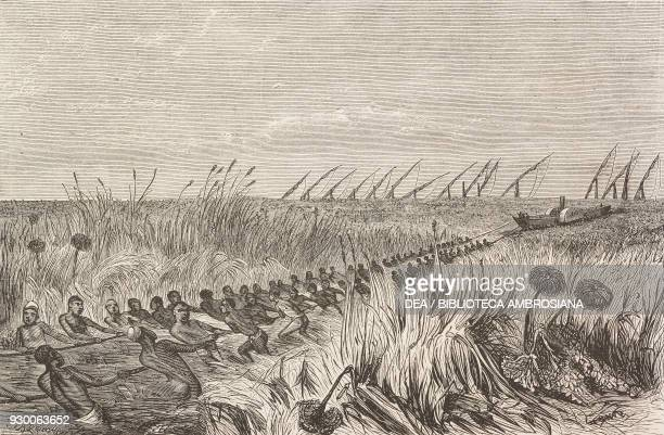 Hauling a ship into the vegetation Sudan engraving from the English edition of Ismailia A narrative of the expedition to Central Africa for the...