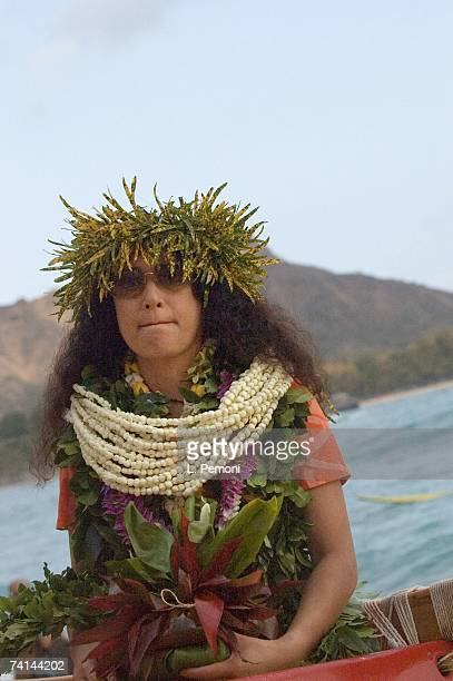Haumea Hebenstreit Ho wife of singer Don Ho sits in a canoe during the memorial service for her husband on May 5 2007 off of Waikiki Beach in...