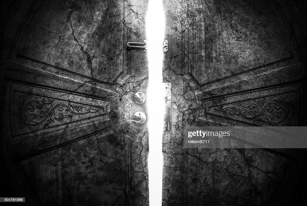 ... Haunted cracks open the door ... & Free spooky door Images Pictures and Royalty-Free Stock Photos ...