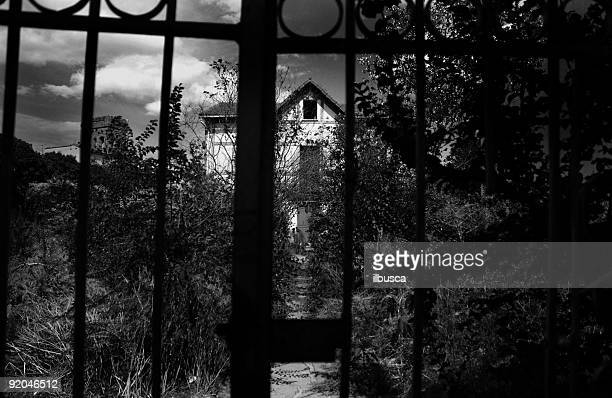 Haunted house black and white